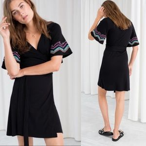 & Other Stories | Black Geo Embroidered Wrap Dress